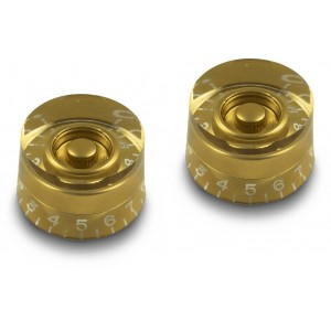 2x GOLD TALL SPEED KNOB VINTAGE 50's FOR GIBSON EPIPHONE STYLE - CTS OR BOURNS