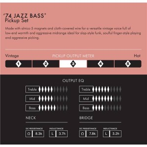FENDER PURE VINTAGE '74 JAZZ BASS J BASS PICKUP SET BLACK 0992243000