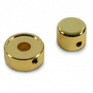 KNOB SET GOLD FOR MOST COMMON CONCENTRIC STACKED DUAL POTENTIOMETERS W / WRENCH
