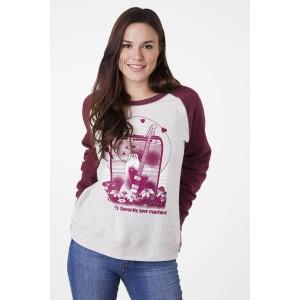 FENDER® WOMEN'S LOVE SWEATSHIRT OATMEAL & MAROON WOMEN'S T-SHIRT SIZE S TO XL 9190146606