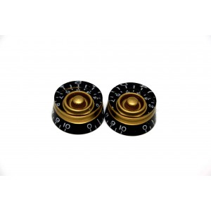 2x BLACK & GOLD SPEED KNOBS FOR GIBSON EPIPHONE STYLE - CTS OR BOURNS